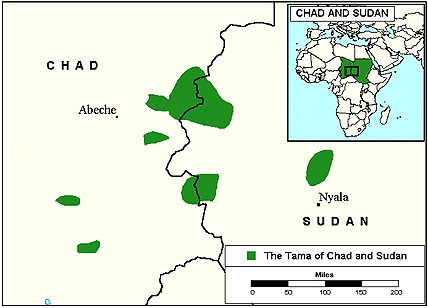 Sinyar, Shamya in Chad map