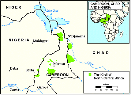 Gude, Cheke in Cameroon map