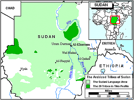 Shaikia, Arabized in Sudan map