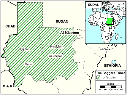 Bederia in Sudan map