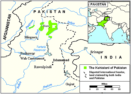 Kohistani in Afghanistan map
