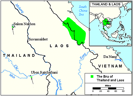 Bru, Western in Laos map