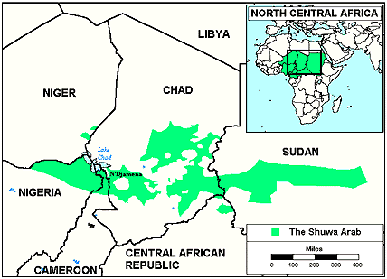 Baggara, Shuwa Arab in Central African Republic map