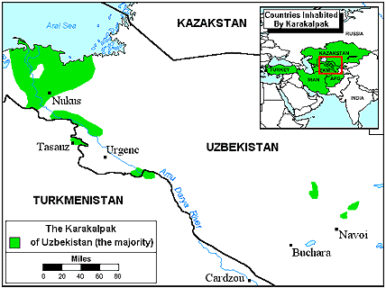Karakalpak in Kazakhstan map