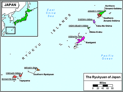 Yaeyama in Japan map