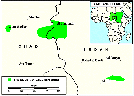 Masalit in Chad map