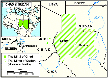 Mimi, Amdang in Chad map