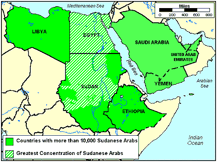 Arab, Sudanese in Ethiopia map