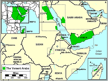 Arab, Yemeni in United States map