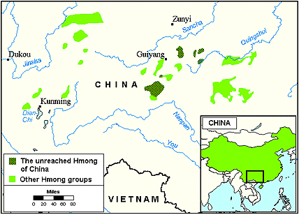 Miao, Mashan Central in China map