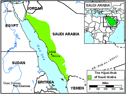 Arab, Saudi - Hijazi in Qatar map