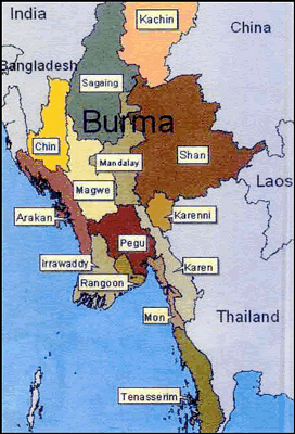 Chin, Bawm in Myanmar (Burma) map