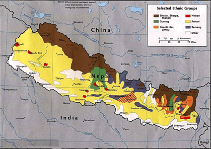 Tibetan, Bhotia in Nepal map