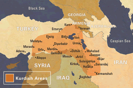 Kurd, Central in United States map