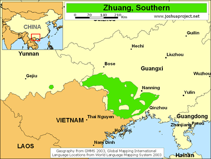 Zhuang, Yang in China map
