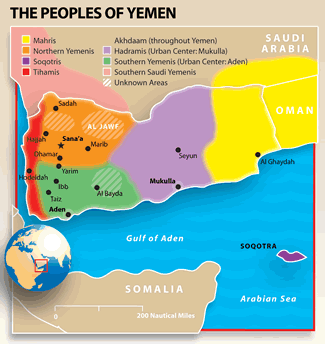 Arab, Tihami in Yemen map