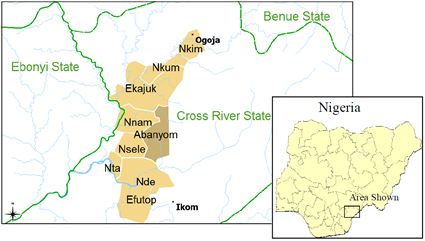 Abanyom in Nigeria map