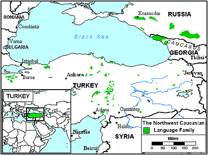 Abaza in Turkey map