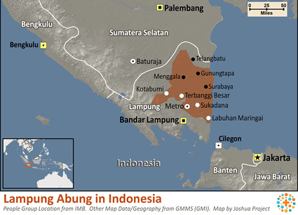 Lampung Abung in Indonesia map