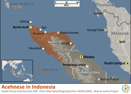 Acehnese in Indonesia map