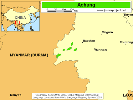 Achang in China map