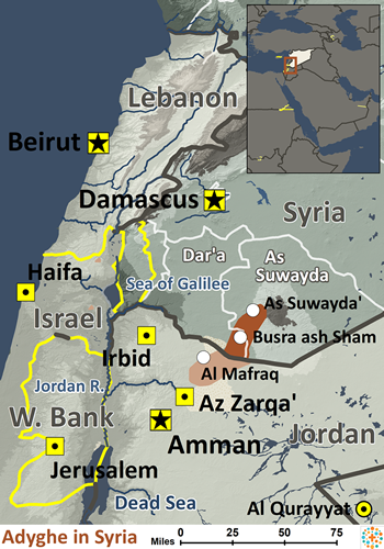 Adyghe in Syria map
