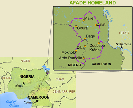 Kotoko, Afade in Nigeria map