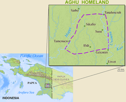 Aghu in Indonesia map