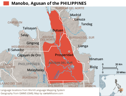 Manobo, Agusan in Philippines map