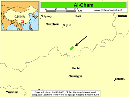 Ai-Cham in China map