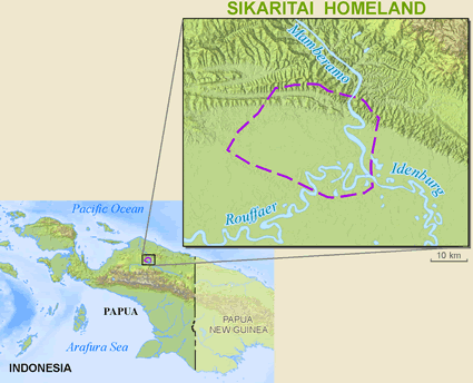 Aikwakai, Sikaritai in Indonesia map