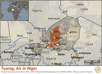 Tuareg, Air in Niger map