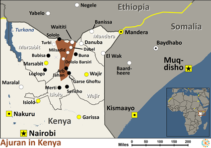 Ajuran in Kenya map