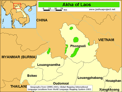 Akha in Laos map