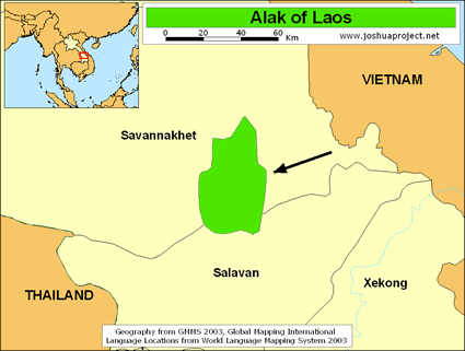 Alak in Laos map