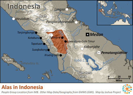 Alas in Indonesia map