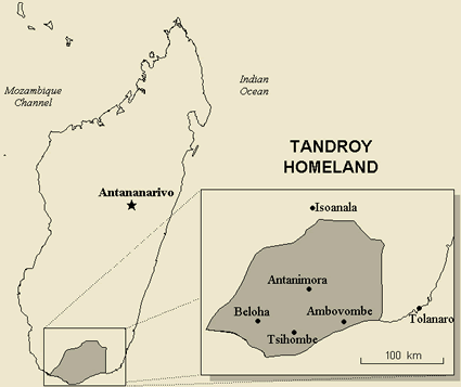 Antandroy in Madagascar map