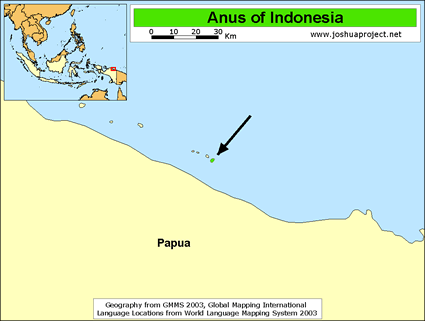 Anus in Indonesia map