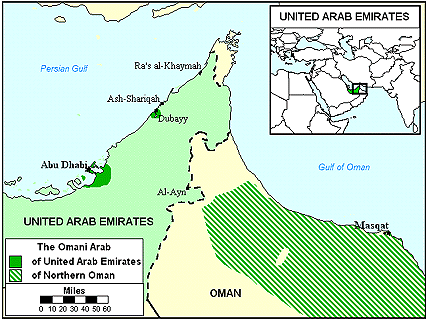 Arab, Omani in United Arab Emirates map