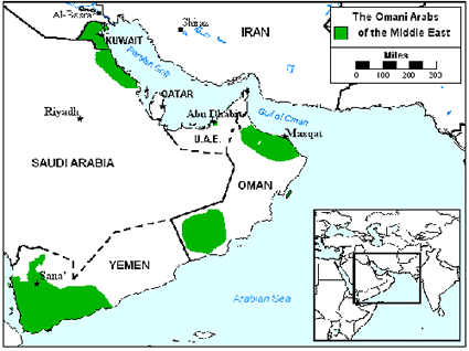 Arab, Omani in Kuwait map