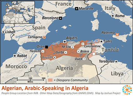 Algerian, Arabic-speaking in Algeria map