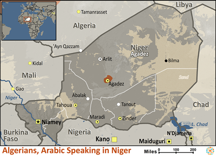 Algerian, Arabic-speaking in Niger map