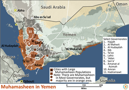 Akhdam, Arabized Blacks in Yemen map
