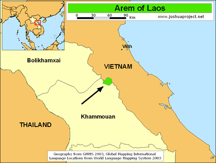 Arem in Laos map