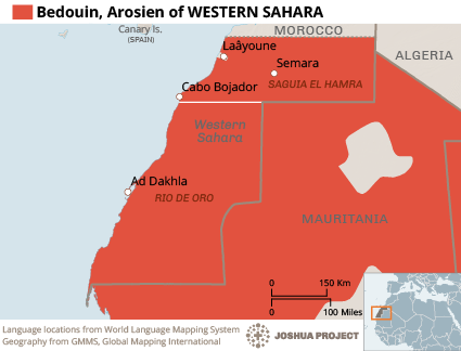Bedouin, Arosien in Western Sahara map