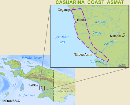 Asmat, Casuarina Coast in Indonesia map