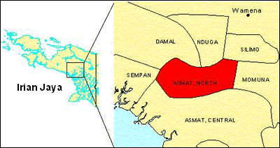 Asmat, Northern in Indonesia map