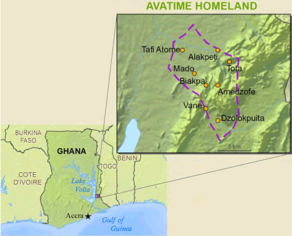 Avatime, Sideme in Ghana map