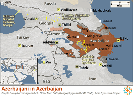 Azerbaijani, North in Azerbaijan map
