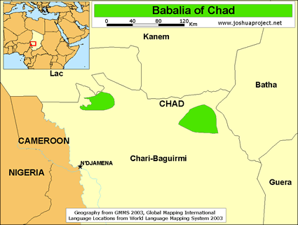 Babalia in Chad map